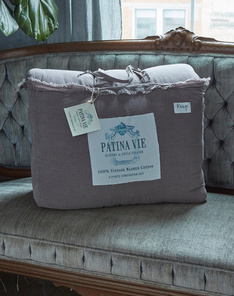 Patina Vie Taupe Vintage Washed Frayed Edge 3pc Comforter Sets