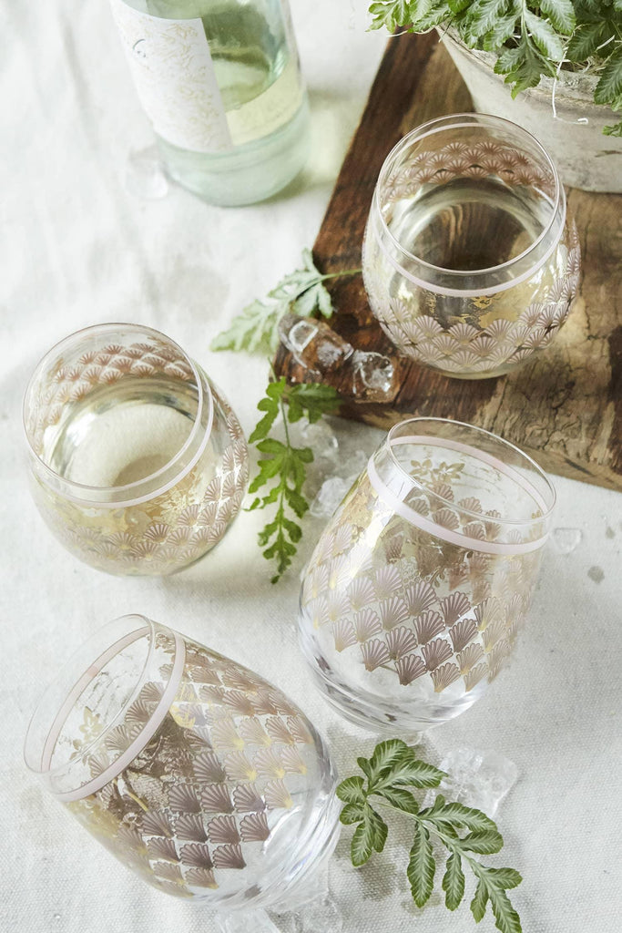 Patina Vie Naples Stemless Wine Glass on tabletop
