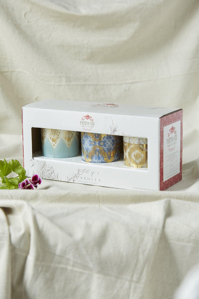 Patina Vie Frosted Shimmer S/3 Candles