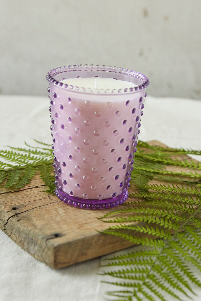 NO. 41 Lilac Hobnail Glass Candle