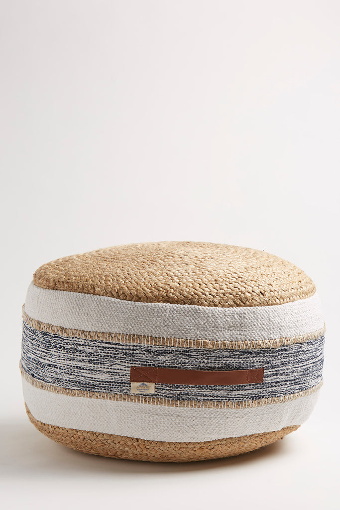 Natural Jute & Navy Pouf