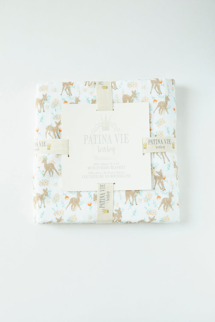 Patina Vie Country Fawn Muslin Baby Blanket