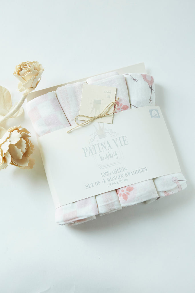 Patina Vie Stork's Special Delivery Muslin Baby Swaddles S/4