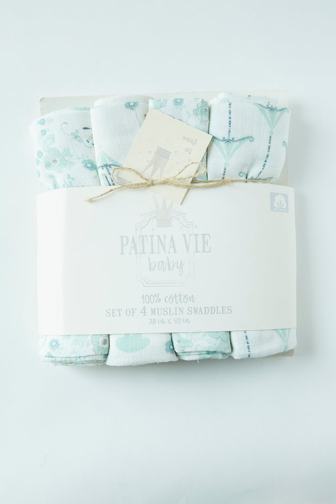 Patina Vie French Carousel Muslin Baby Swaddles S/4