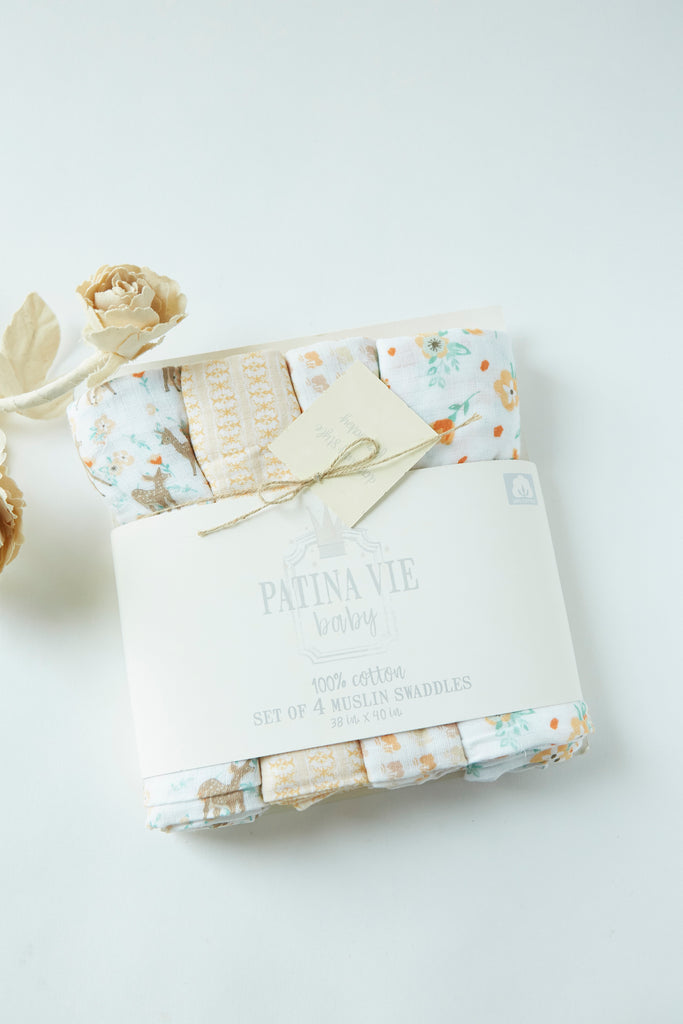 Patina Vie Country Fawn Muslin Baby Swaddles S/4