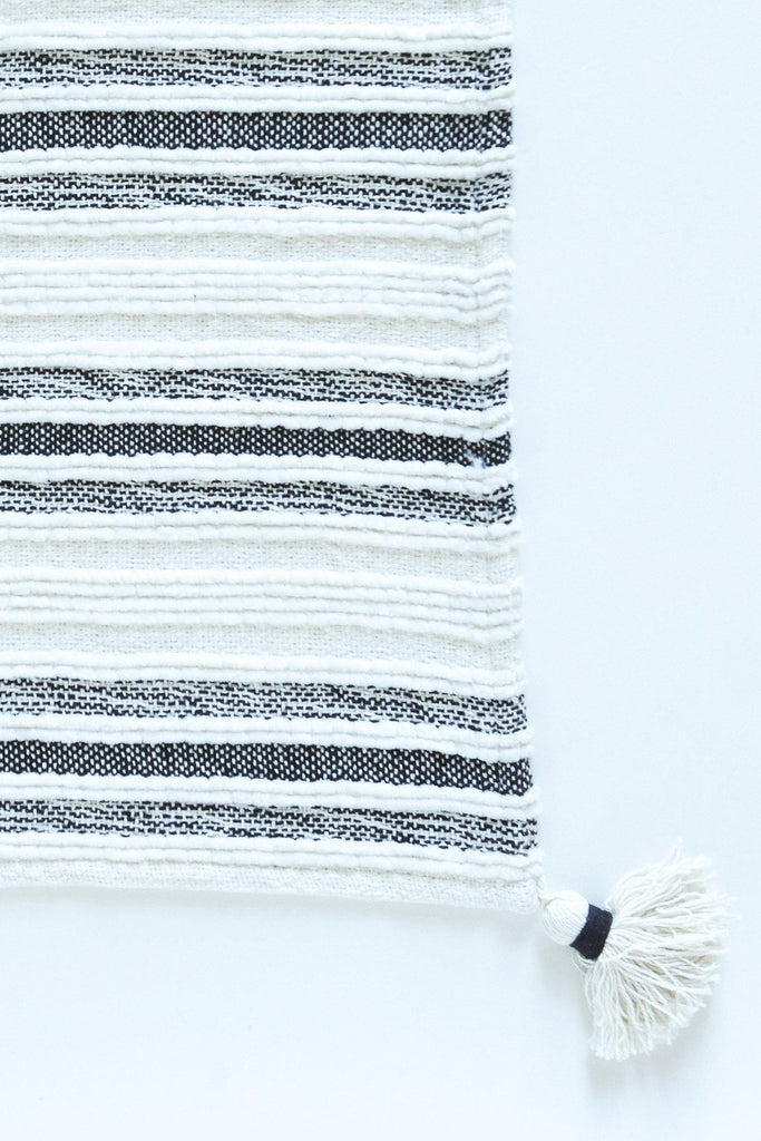 Woven Striped Throw With Corner Tassels - Black - Patina Vie