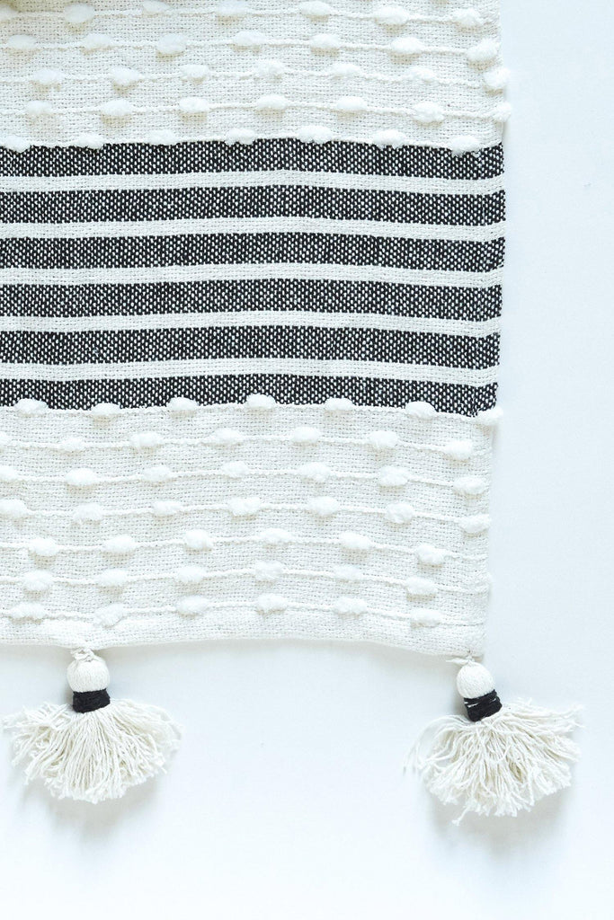 Woven  Block Striped Throw With Tassels - Black - Patina Vie