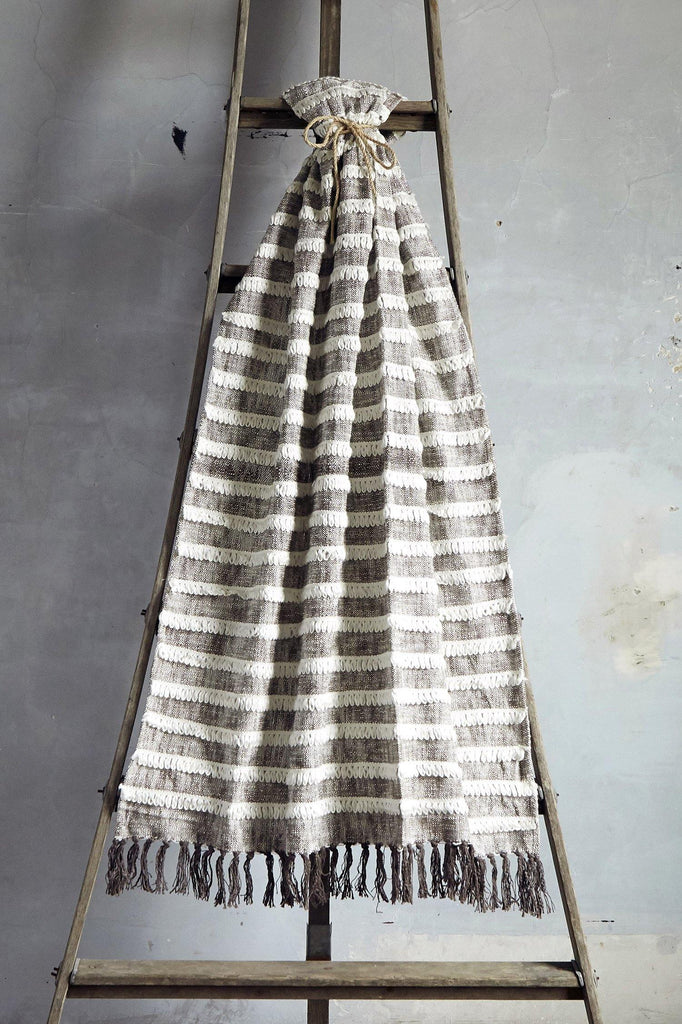 Black and Natural Striped Tassel Throw With Fringe - Patina Vie