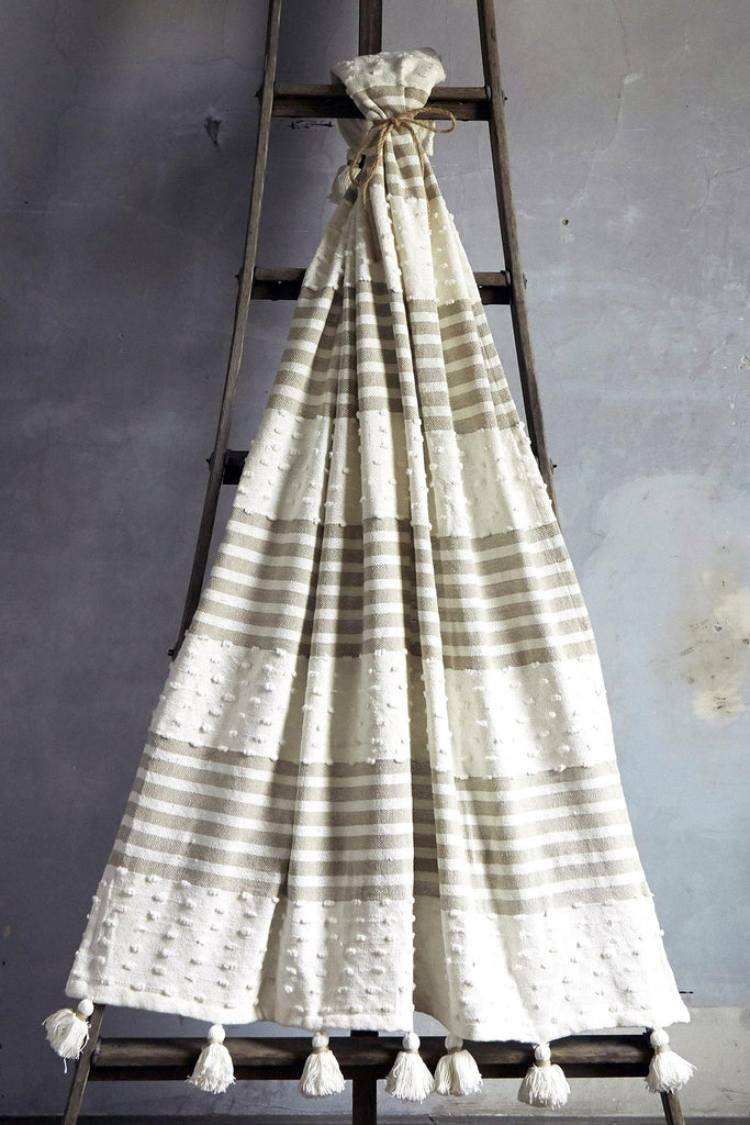 Woven  Block Striped Throw With Tassels - Tan - Patina Vie