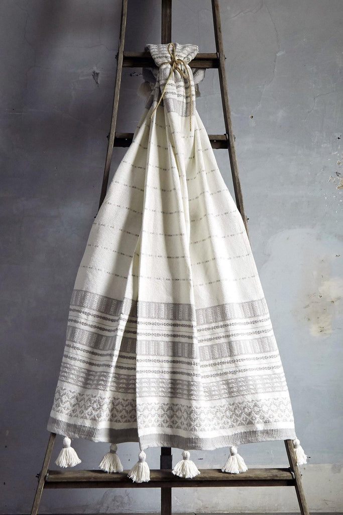 Woven Stripe Throw With Pom Poms - Silver - Patina Vie
