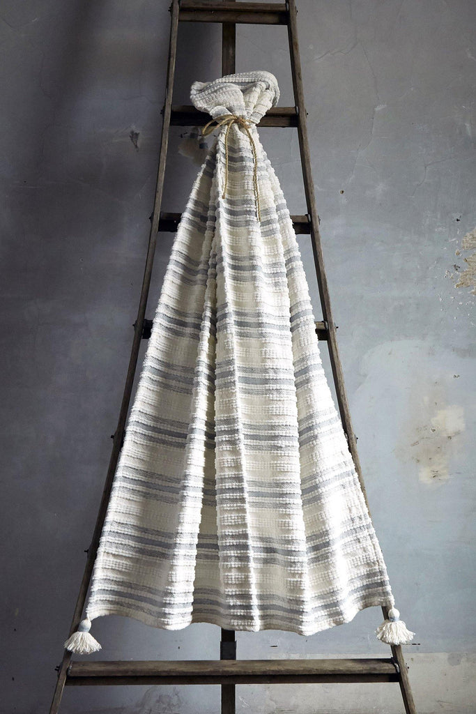 Woven Striped Throw With Corner Tassels - Blue