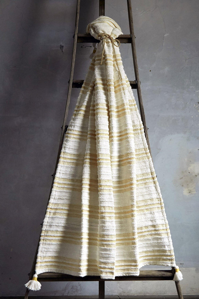 Woven Striped Throw With Corner Tassels - Yellow