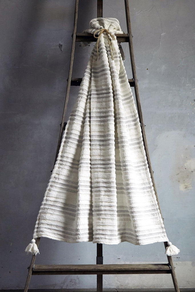 Woven Striped Throw With Corner Tassels -Silver - Patina Vie