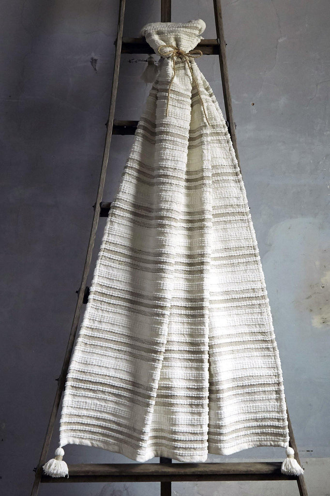 Woven Striped Throw With Corner Tassels - Tan