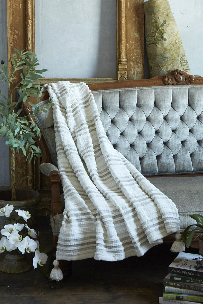 Woven Striped Throw With Corner Tassels - Tan - Patina Vie