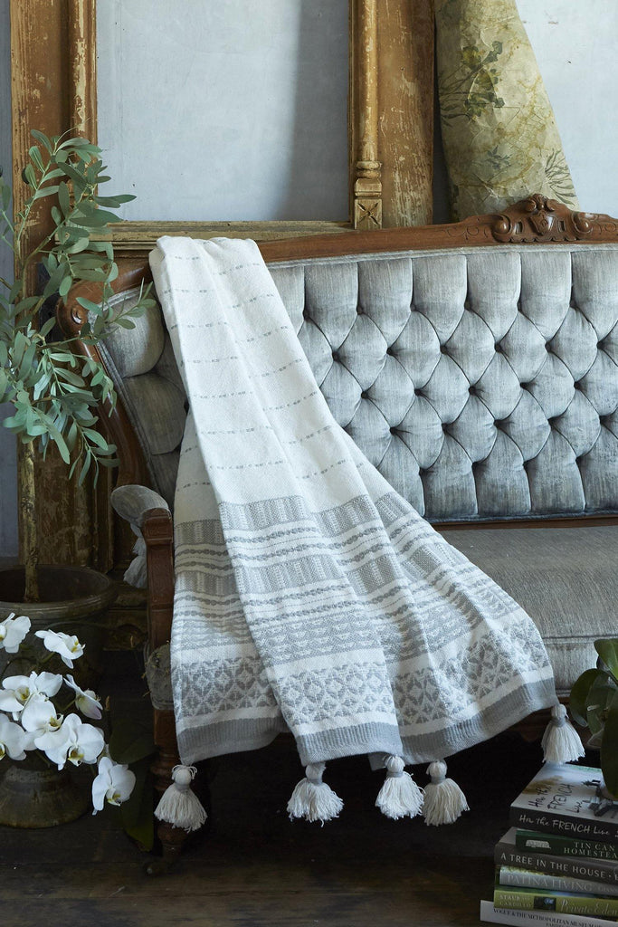 Woven Stripe Throw With Pom Poms - Silver