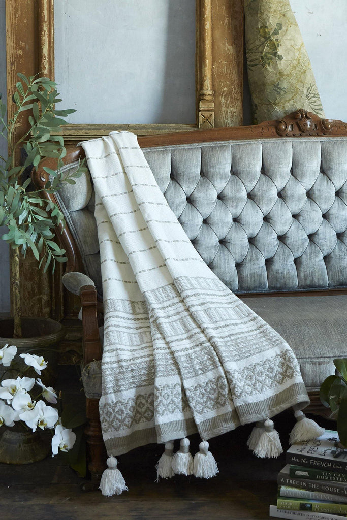 Woven Stripe Throw With Pom Poms - Tan - Patina Vie