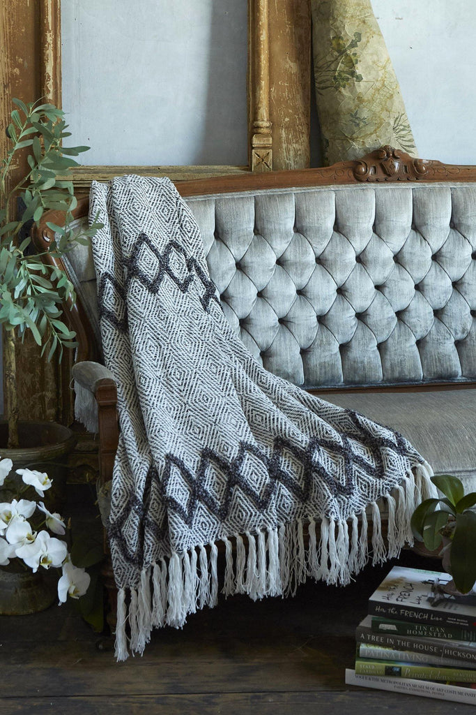 Woven Diamond Pattern Throw - Patina Vie