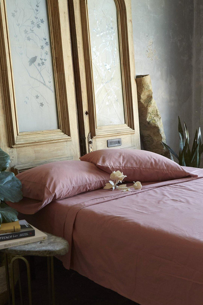 Patina Vie 100% Cotton Dusty Rose 4 Piece Sheet Set - Patina Vie