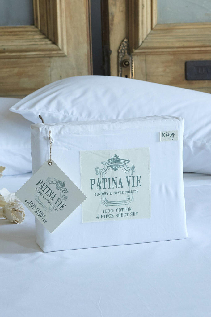 Patina Vie 100% Cotton White 4 Piece Sheet Set - Patina Vie