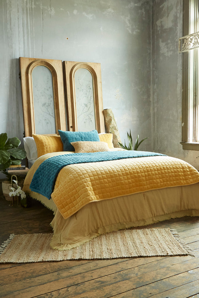 Patina Vie Ochre Vintage Washed Frayed Edge 3pc Comforter Sets