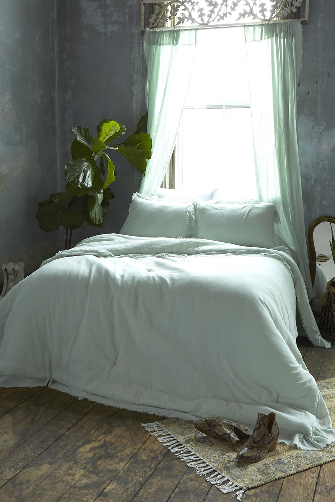 Patina Vie Aqua Vintage Washed Frayed Edge 3pc Comforter Sets