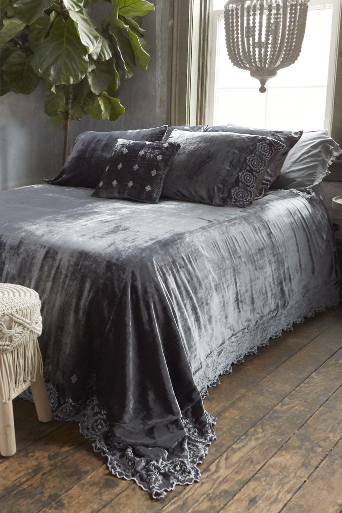 Patina Vie Arletta Grey Velvet Bedding - Patina Vie