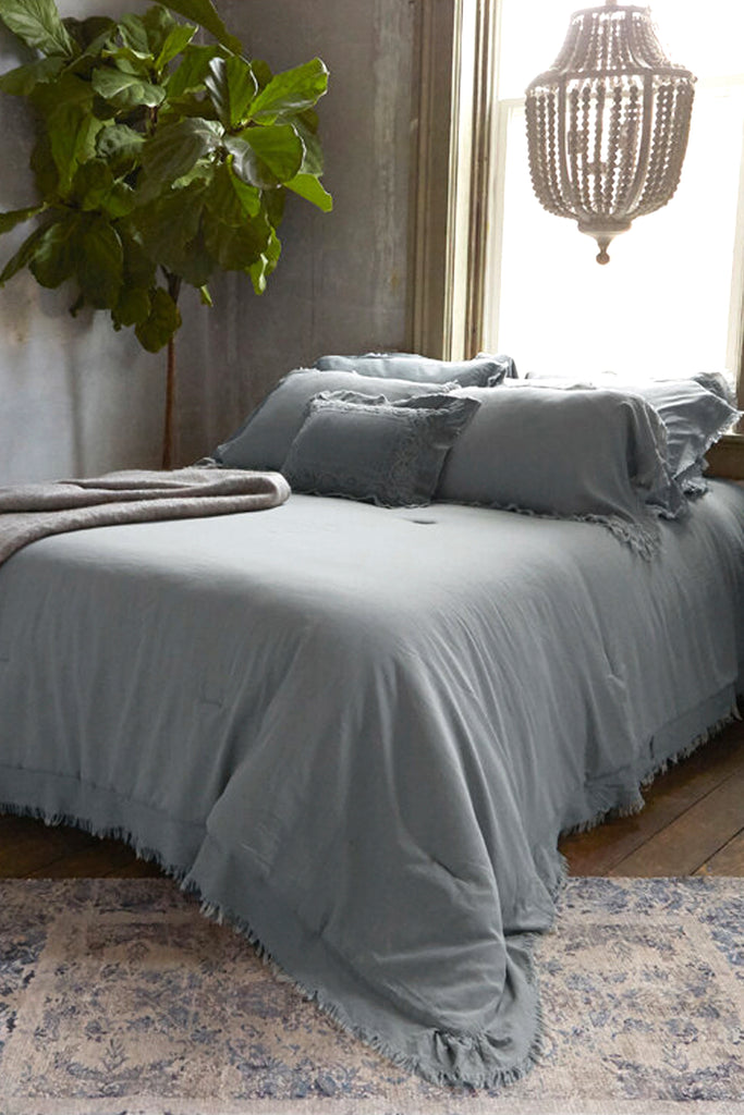 Patina Vie Grey Vintage Washed Frayed Edge 3pc Comforter Sets