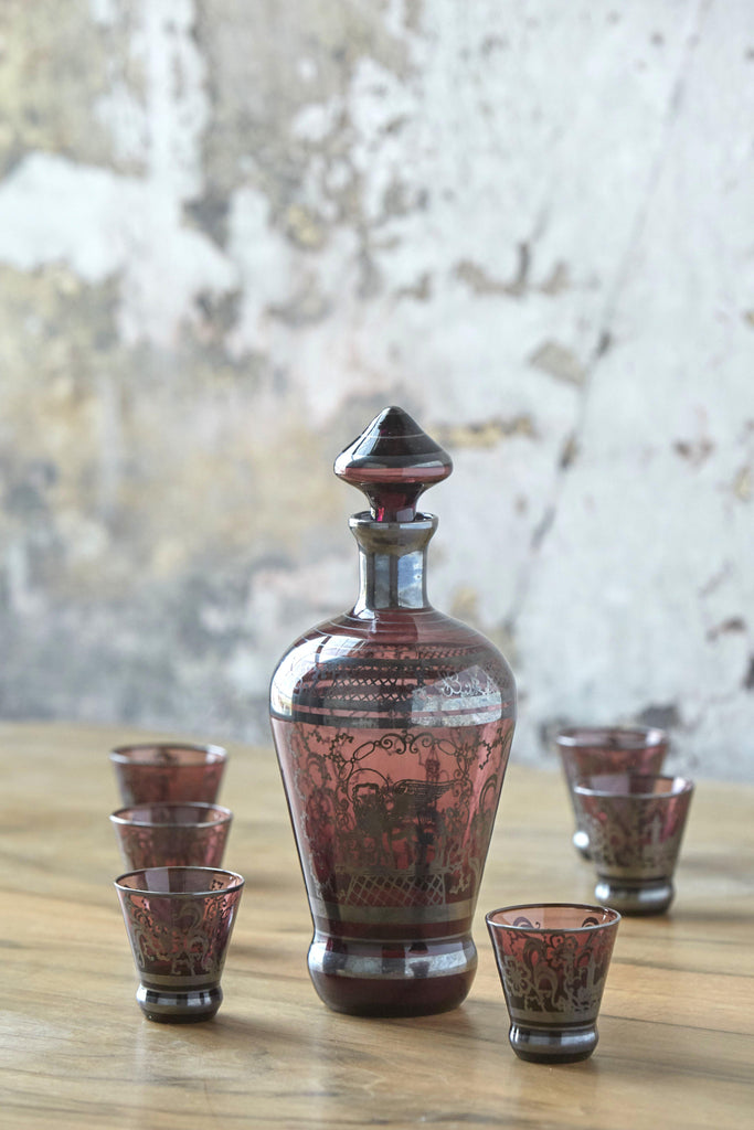 Patina Vie Vintage Amethyst Italian Decanter + Shots, Set of 7