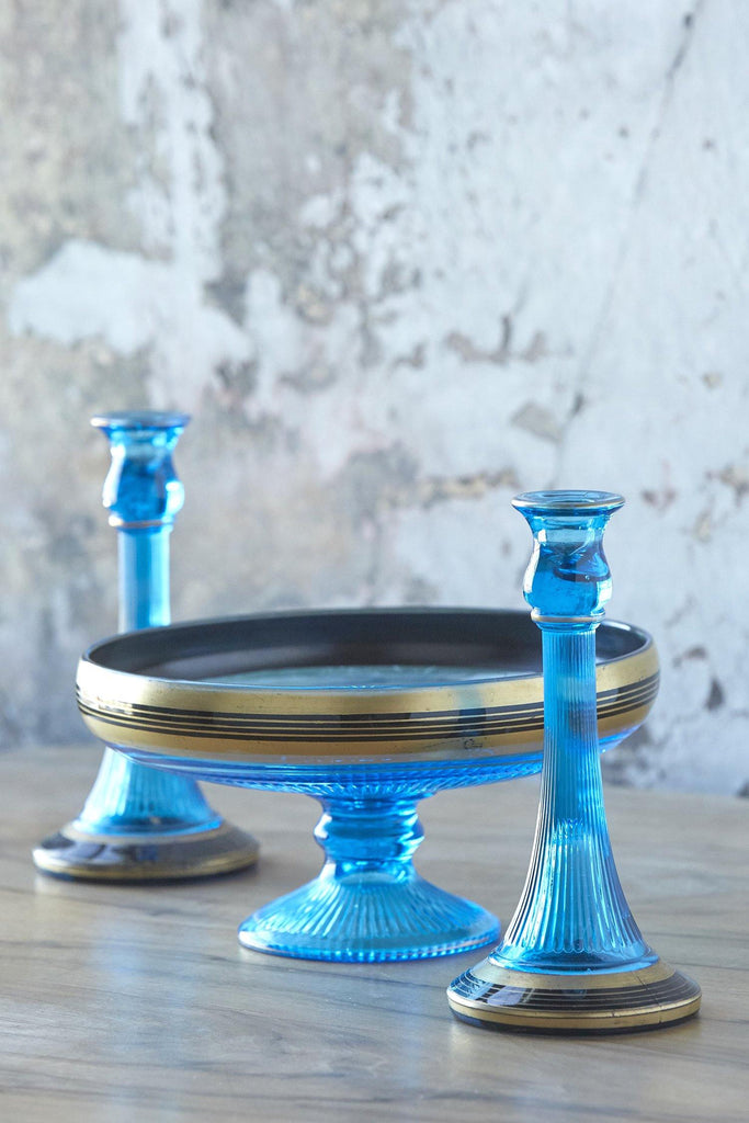 Patina Vie Vintage Blue Centerpiece Bowl and Candleholder Trio