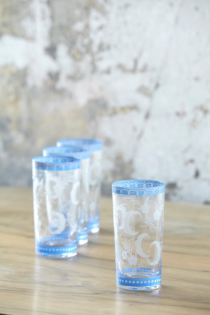 Patina Vie Vintage Etched French Tumbler Glasses, Set of 4