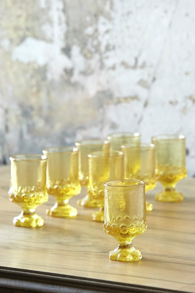 Patina Vie Vintage French Ochre Footed Cocktail Glasses, Set of 8