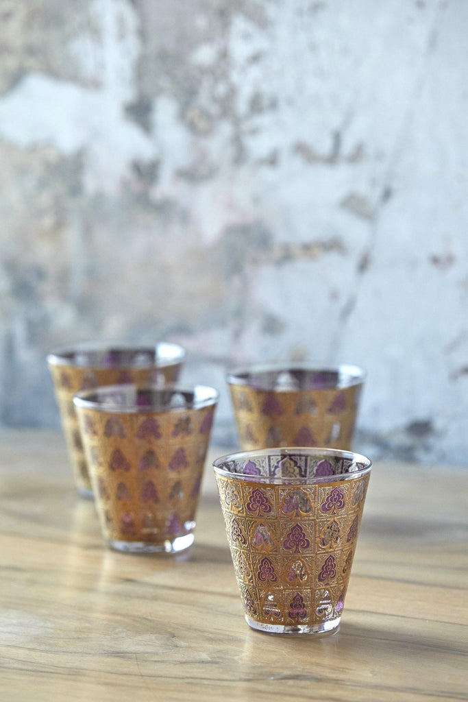 Patina Vie Vintage Gold Filigree Cocktail Glasses, Set of 4