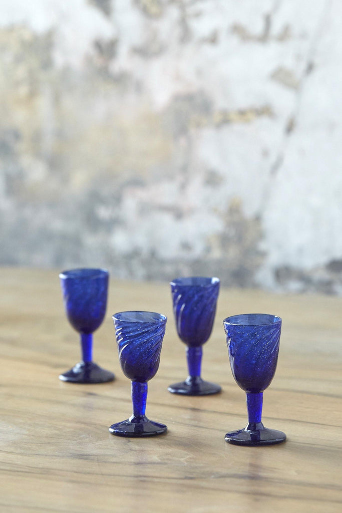 Patina Vie Vintage Hand-Blown Sapphire Glass Cordials, Set of 4