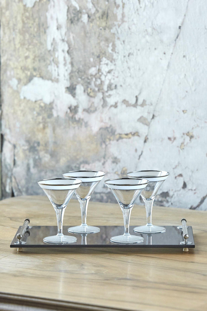 Patina Vie Vintage Martini Glasses w/ Cocktail Tray, Set of 5