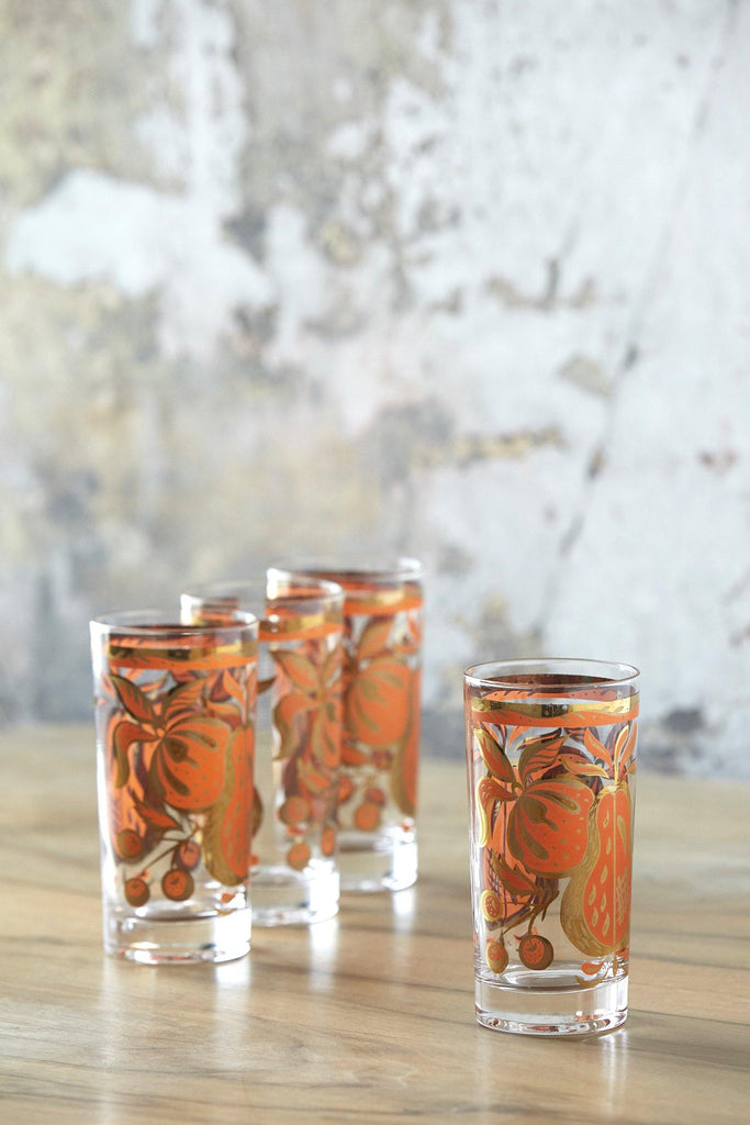 Patina Vie Vintage Mid-Century Orange Fruited Tumblers, Set of 4