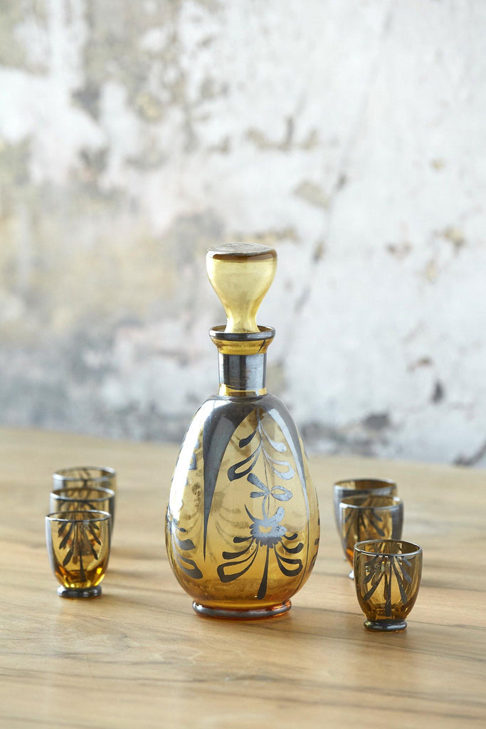 Patina Vie Vintage Ochre Italian Decanter + Shots, Set of 7