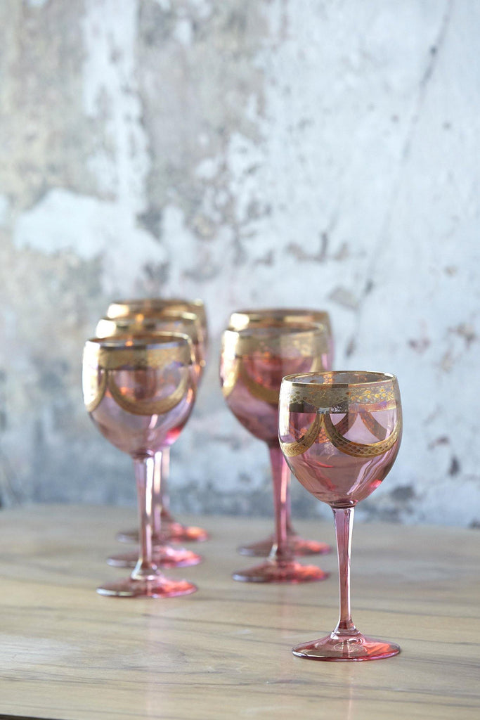 Patina Vie Vintage Ornate Italian Blush & Gold Goblets, Set of 6