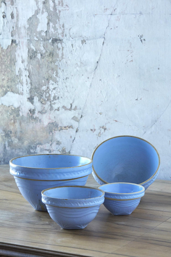 Patina Vie Vintage Periwinkle Glazed Stoneware Mixing Bowls, Set of 4
