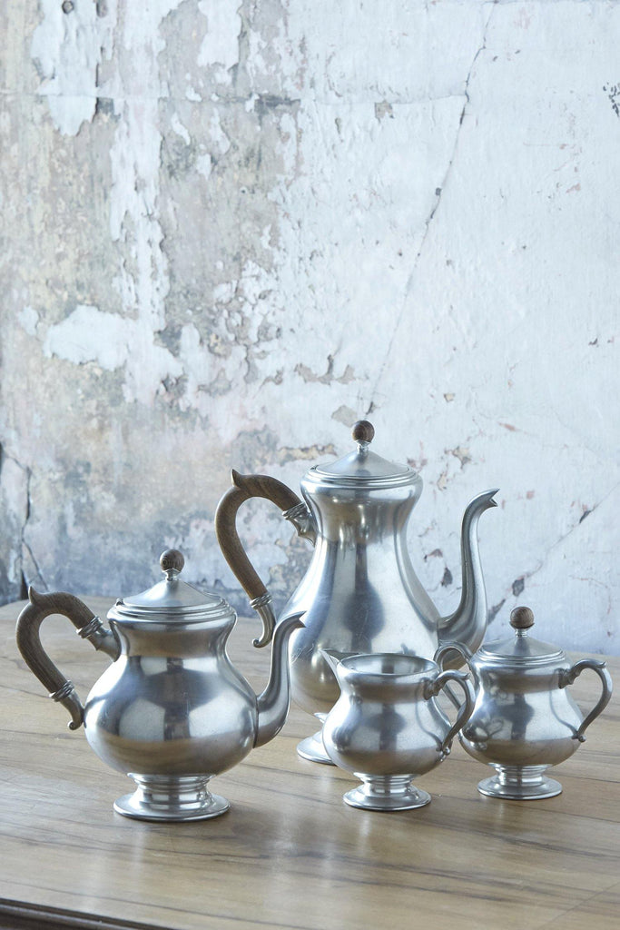 Patina Vie Vintage Pewter Coffee + Tea Service with Wooden Accents, Set of 4