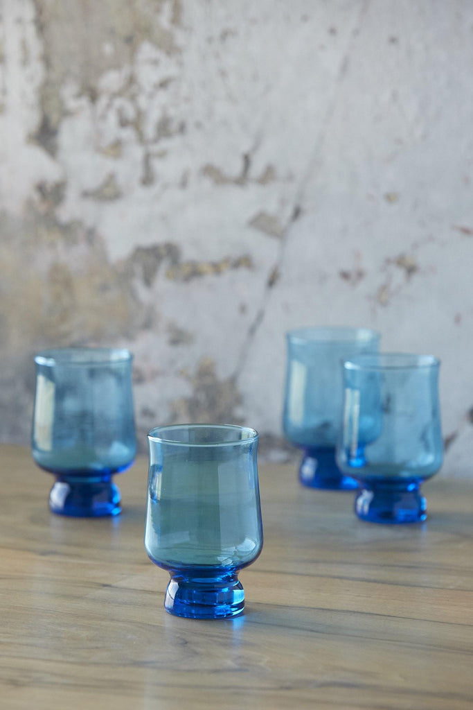 Patina Vie Vintage Turquoise Footed Glasses, Set of 4
