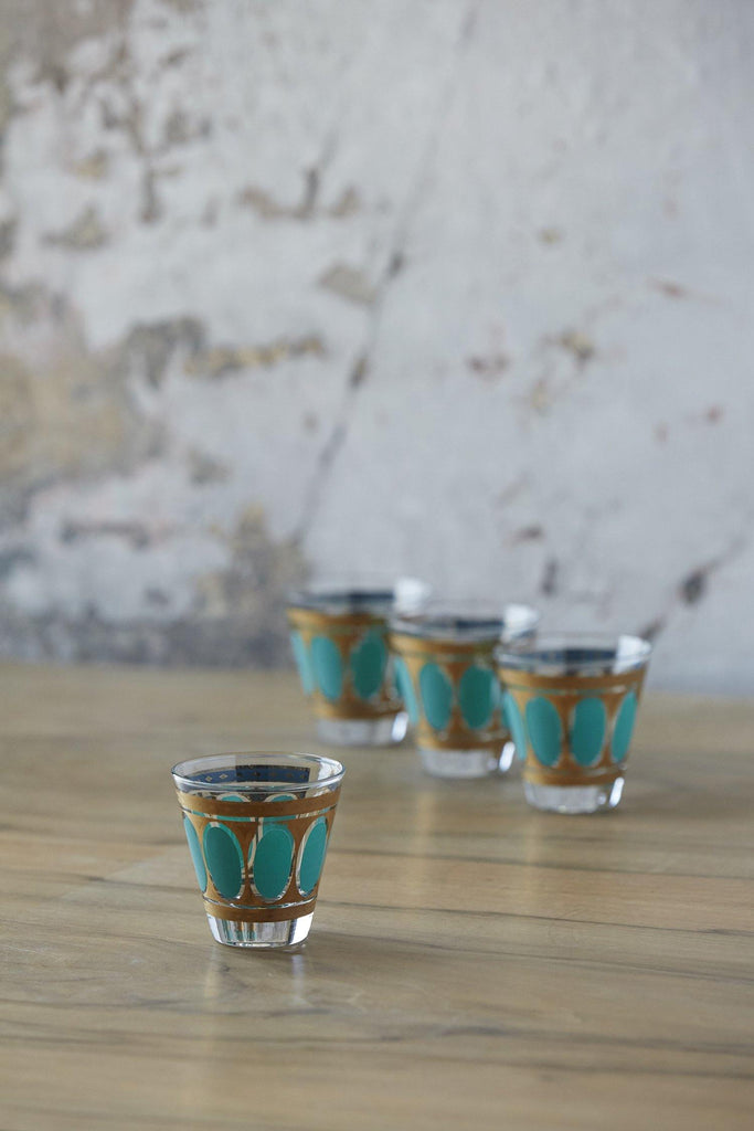 Patina Vie Vintage Turquoise Juice Glasses, Set of 4