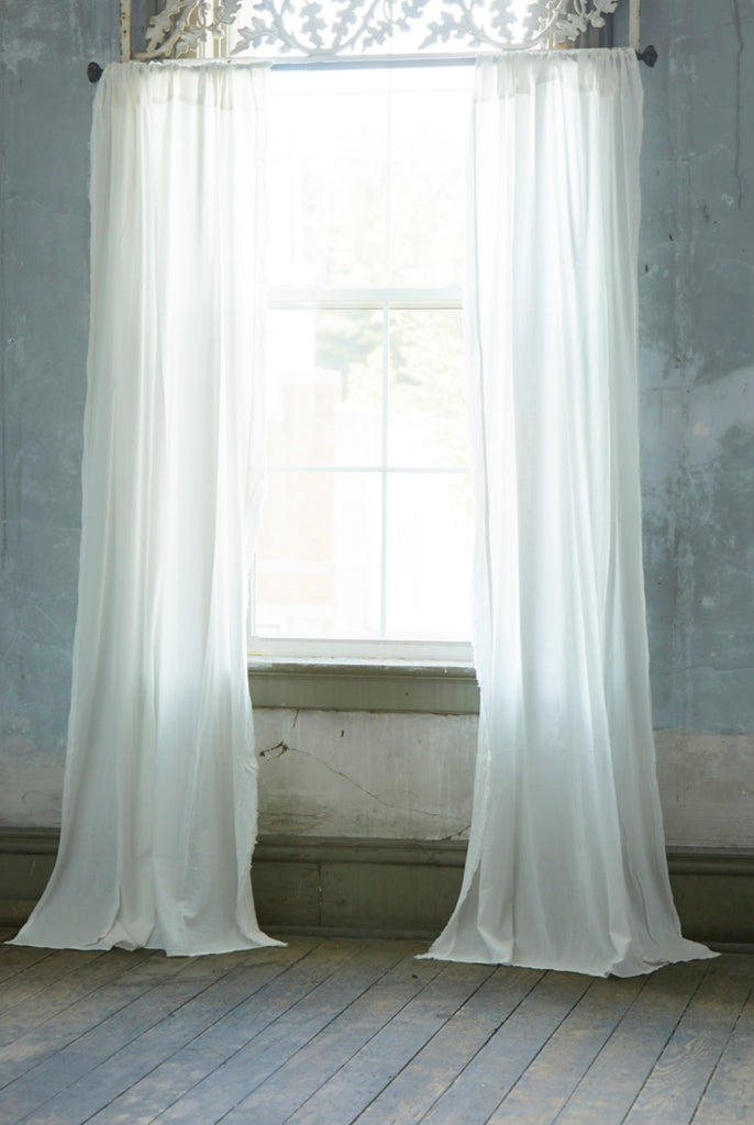 Patina Vie White Vintage Washed Frayed Edge Window Panels, Pair