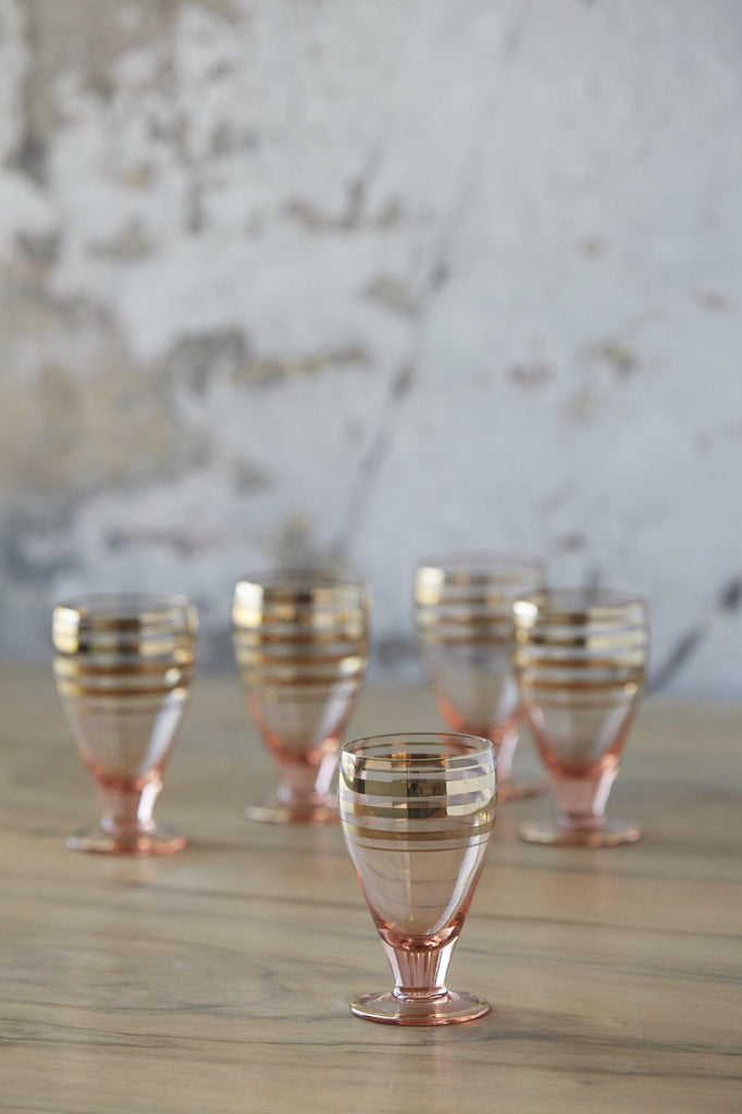 Patina Vie Vintage Blush and Gold Cordials, Set of 5 - Patina Vie