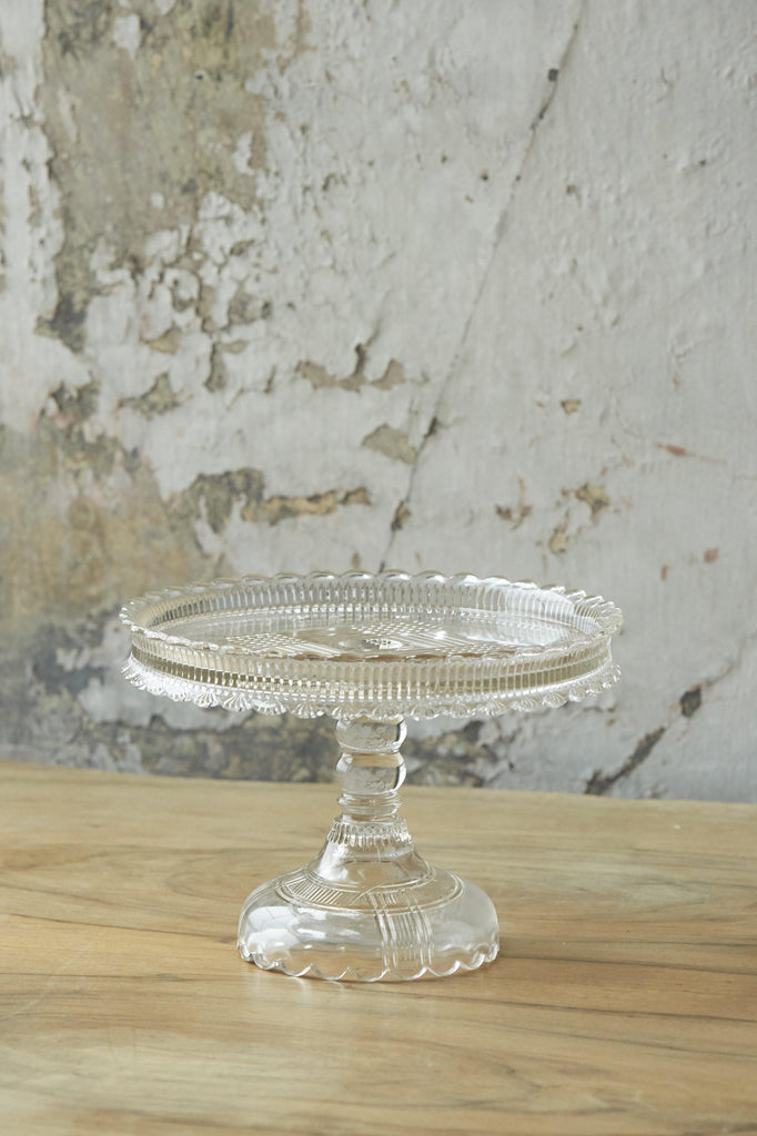 Patina Vie Vintage Cut Glass Cake Stand