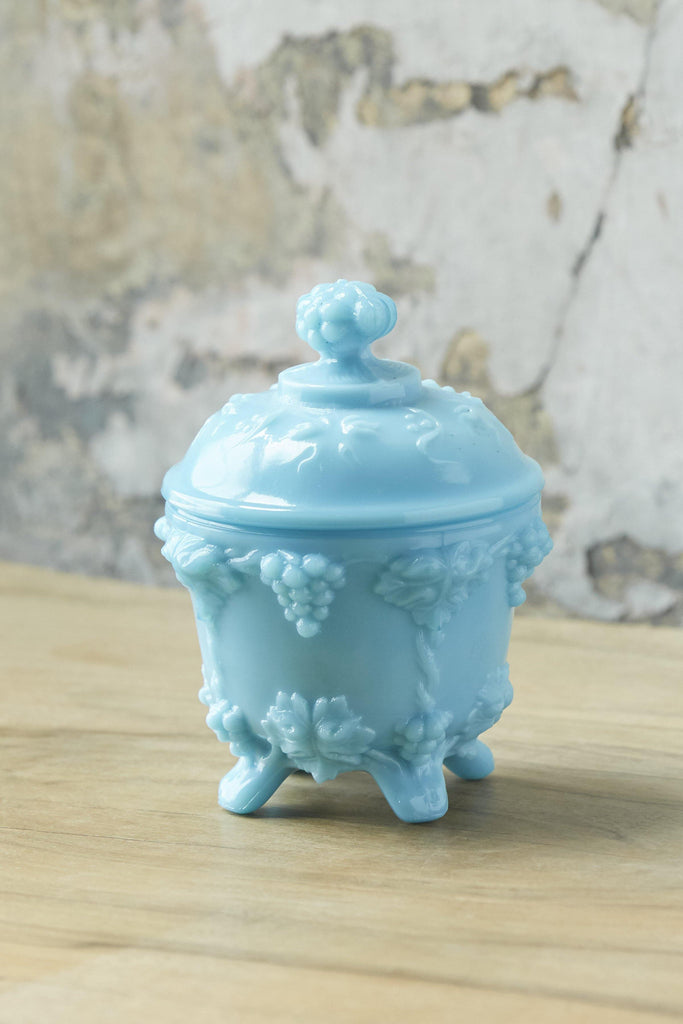 Patina Vie Vintage Turquoise Milk Glass Covered Dish