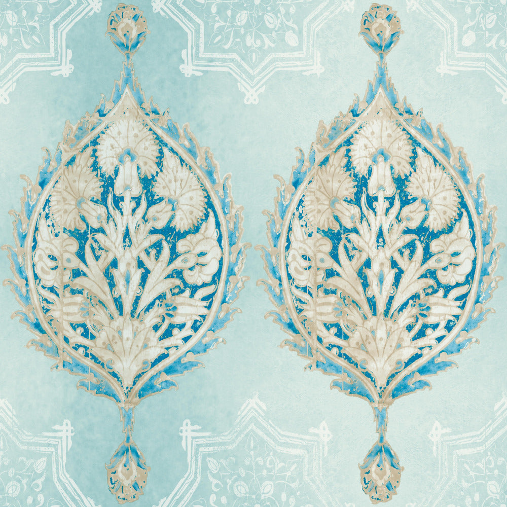 Patina Vie Henna Palm Ogee Wallpaper - Sky Blue