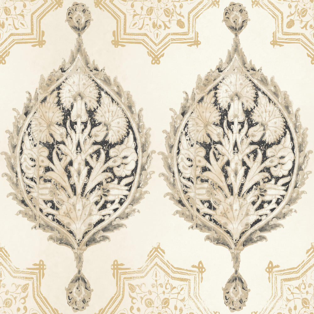 Patina Vie Henna Palm Ogee Wallpaper - Black/Cream