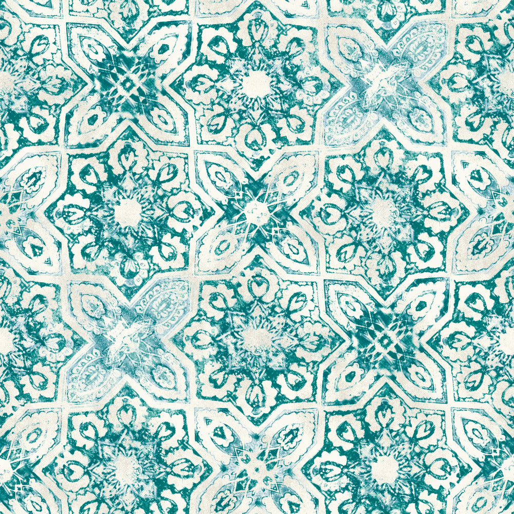 Patina Vie Fatima Tiles Wallpaper - Teal
