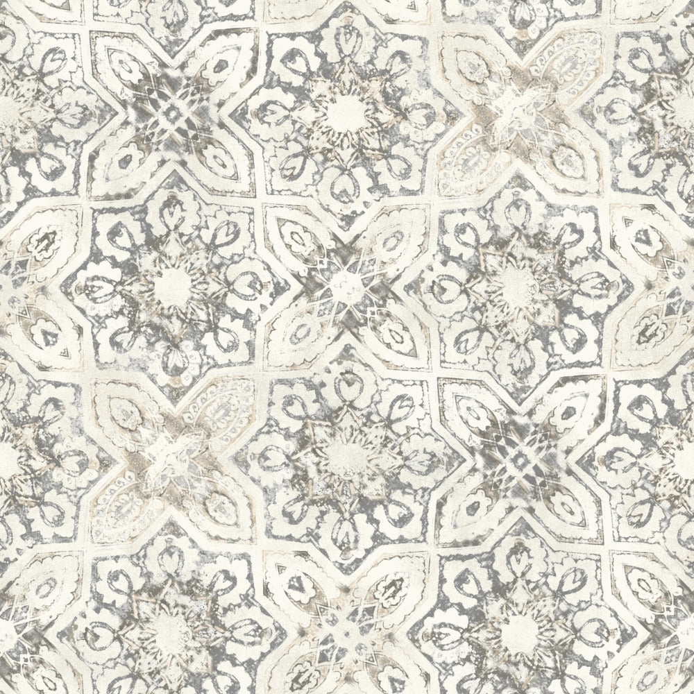 Patina Vie Fatima Tiles Wallpaper - Grey